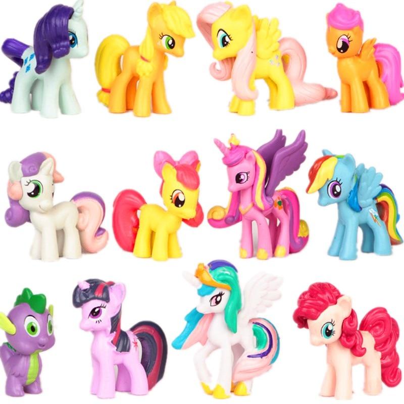 12 шт./компл. 3-5 см мой маленький пони ПВХ Радуга рисунком лошадки из мультфильма «Мой Маленький Пони» Игрушки фигурки Куклы для девочек на де...