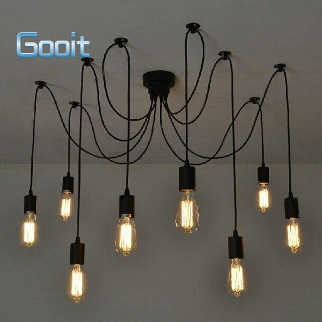Edison Retro Spider Chandelier Lighting Ceiling Pendant 8 Lights Drop Light Ac