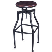Giantex New Vintage Bar Stool Metal Design Wood Top Height Adjustable Swivel Bar Chair Industrial Style