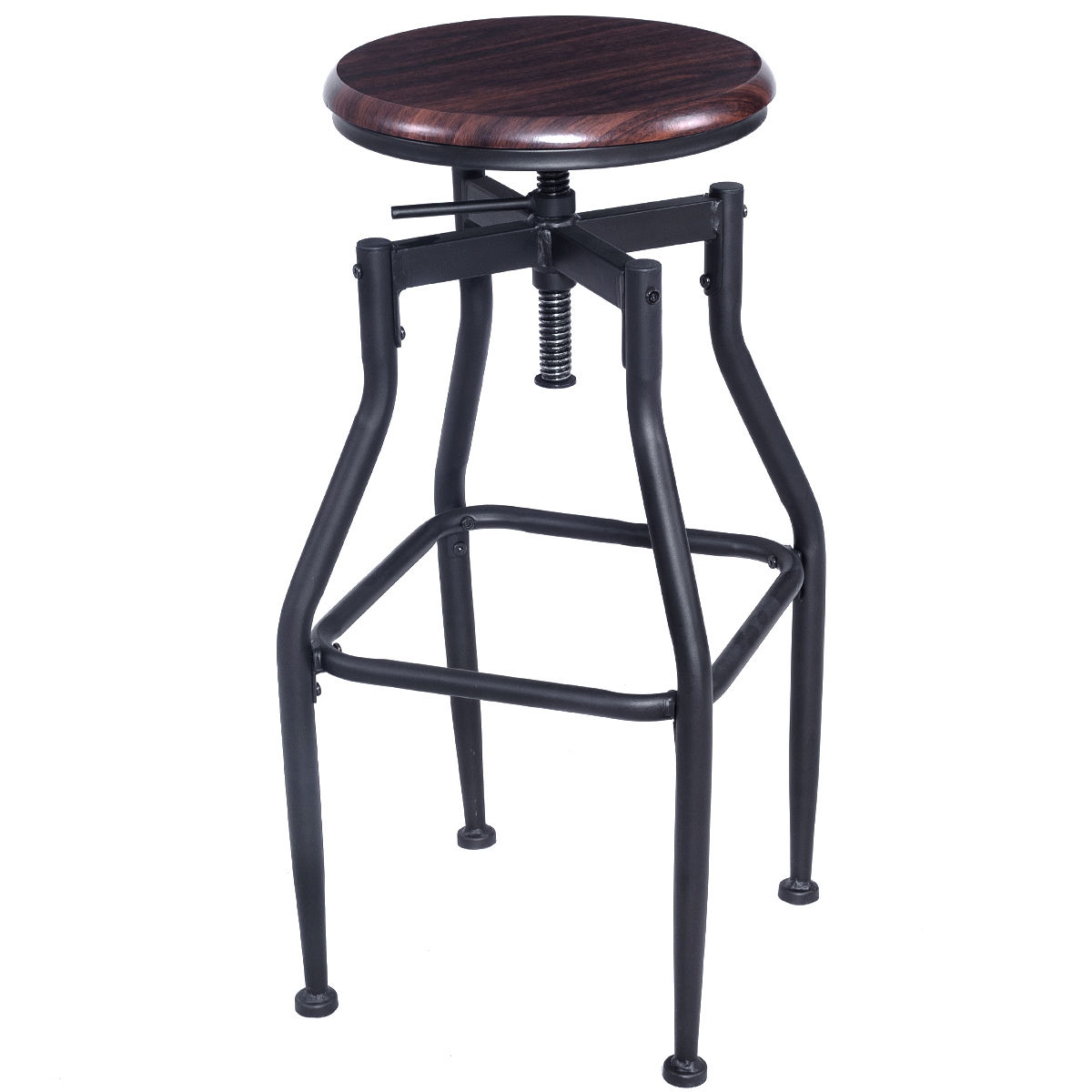 Giantex New Vintage Bar Stool Metal Design Wood Top Height Adjustable Swivel Bar Chair Industrial Style Bar Furniture HW52162 vintage metal bar chair bar chair lift 100% wooden bar chair the pulley of the bar chair wood stool metal furniture