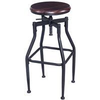 Giantex New Vintage Bar Stool Metal Design Wood Top Height Adjustable Swivel Bar Chair Industrial Style