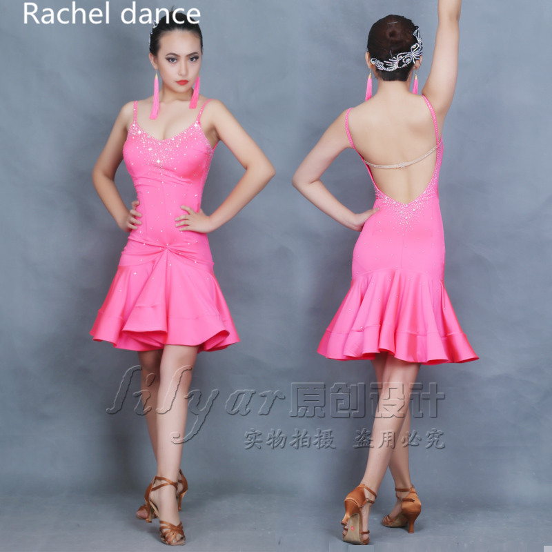 2017 Profession Latin Dance Dress Women Ropa Danza Polyester Salsa Samba Tango Ballroom Competition Costume latin dress For Girl
