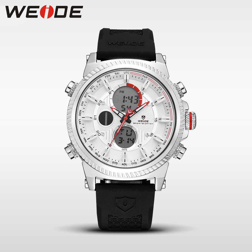 WEIDE Casual Genuine luxury watch sport digital Automatic watches silicon watch quartz Analog Waterproof Alarm Clock Men army weide casual genuine watch luxury brand quartz sport digital watches stainles steel analog led men alarm clock relogio masculino