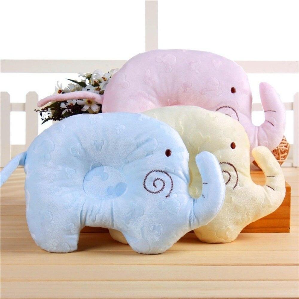 Baby Elephant Pillow Anti-Roll Prevent Flat Head Sleeping Positioner For Newborn Infant Boys Girls Soft Velvet Cotton Filling