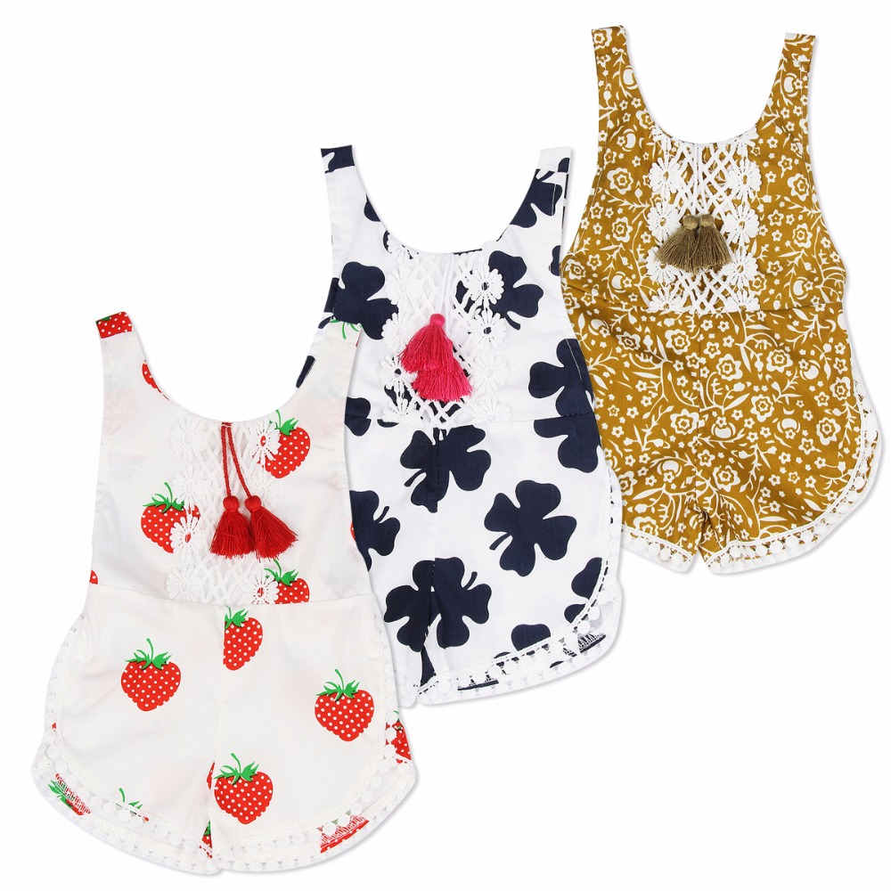 Newborn Infant Baby Girls Clothing Tassels Rompers Sleeveless Cute Jumpsuit Clothes Baby Girl Outfits 0-4T New 2017 newborn infant baby girl boys cute rabbit bunny rompers jumpsuit long sleeve clothing outfits girls sunsuit clothes