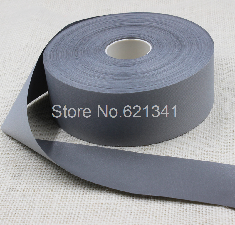 5cm 50m 100 Polyester Safety Bright Silver Reflective Chemical Fabric Tape Sew On Clothes