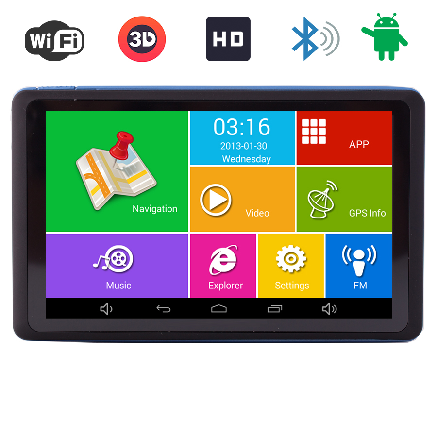 7 inch Car Android GPS Navigation navigator Bluetooth WIFI av-in HD Truck vehicle gps Navitel Russia/Europe Free Map