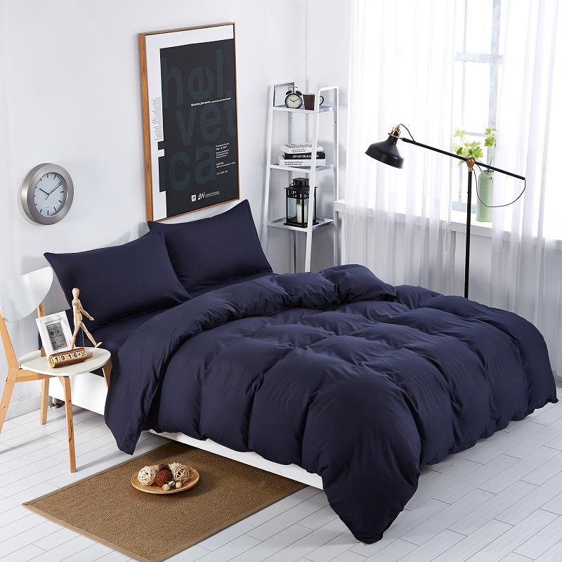 Textiles Para el hogar, Juegos de Cama de Estilo Azul Marino Color Sólido 3/4 Un