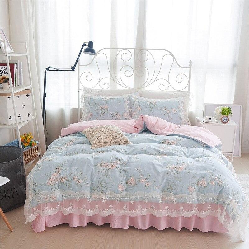 Korean pastoral flower print bedding set princess ruffle lace douvet cover elegant striped beding wrinkle bedspread