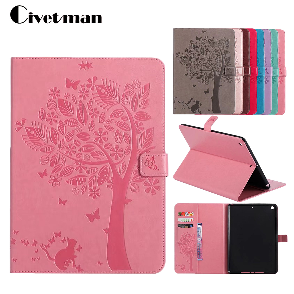 High Quality Embossed Cat Tree Pattern Stand PU Leather Case For Apple New IPad 9 7