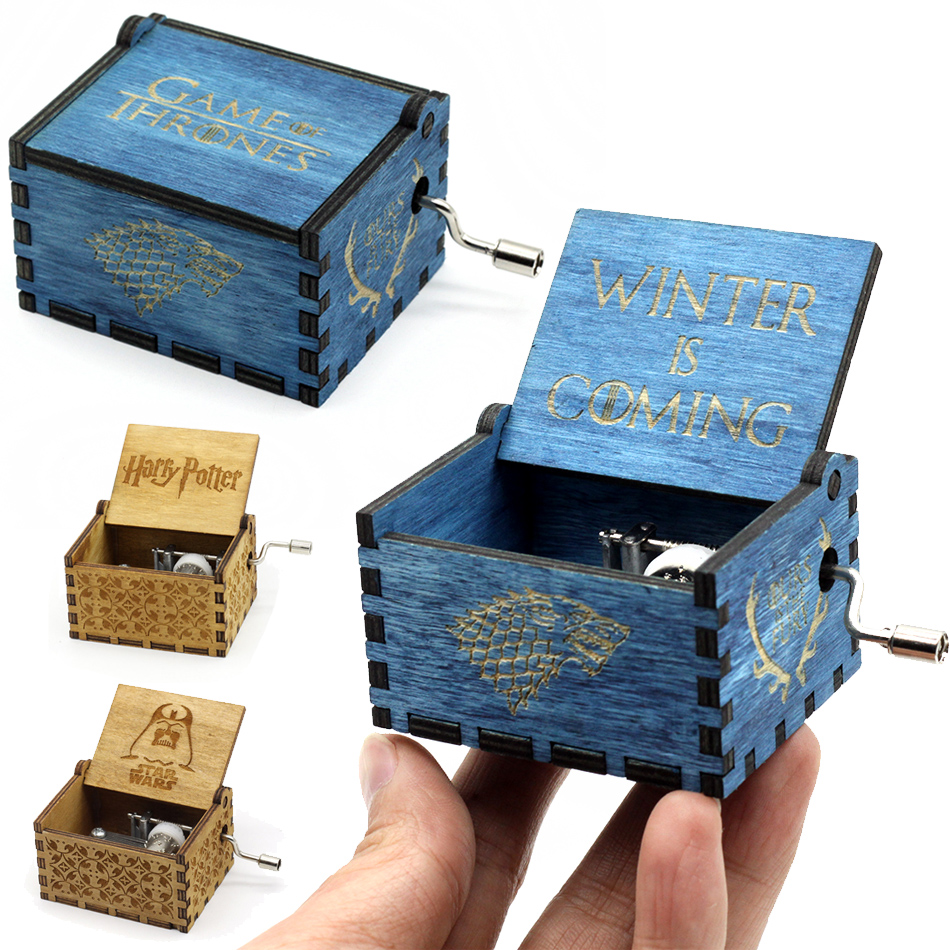 Antique Carved Wooden Music Box Star Wars Game of Thrones Harry Potter Hand Crank Theme Music Welcome To Wholesale