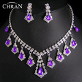 Purple Crystal Stone Rhodium Plated African Wedding Jewelry Promotion Fashion Rhinestone Necklace Earrings Bridal Jewelry Sets