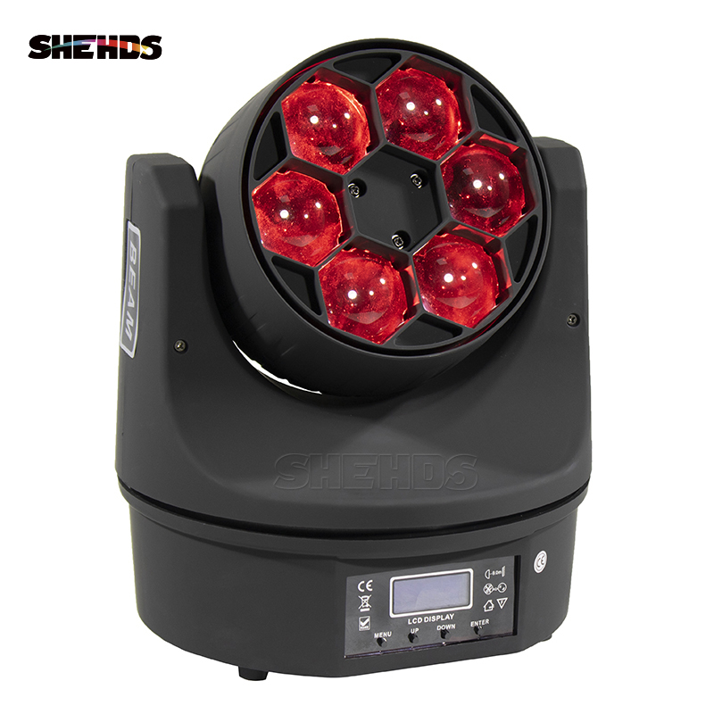 LED Beam+Wash Six Bees Eyes 6x15W RGBW DMX512 Stage Effect Lighting For DJ Disco Birthday Party Dance Floor Nightclub Wedding