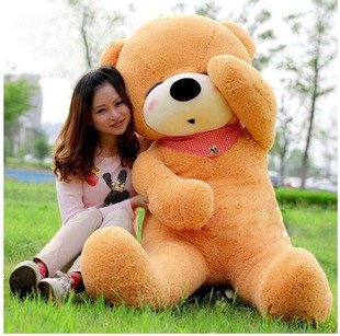 Stuffed plush 160cm light brown teddy bear Sleepy bear toy doll gift present w1095 huge lovely new plush teddy bear toy stuffed light brown teddy bear with bow birthday gift about 160cm