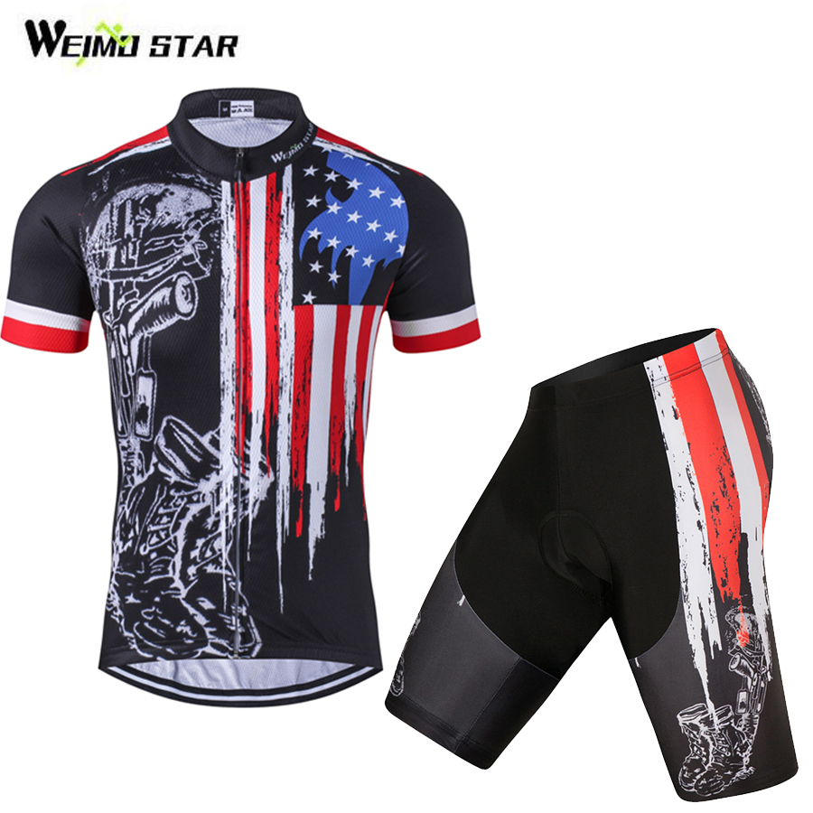 USA Flag Cycling Jersey Set Short Sleeve Outdoor Sportwear Cycling Bike Clothing /Cycling Wear Bib Pad Shorts Set S-4XL