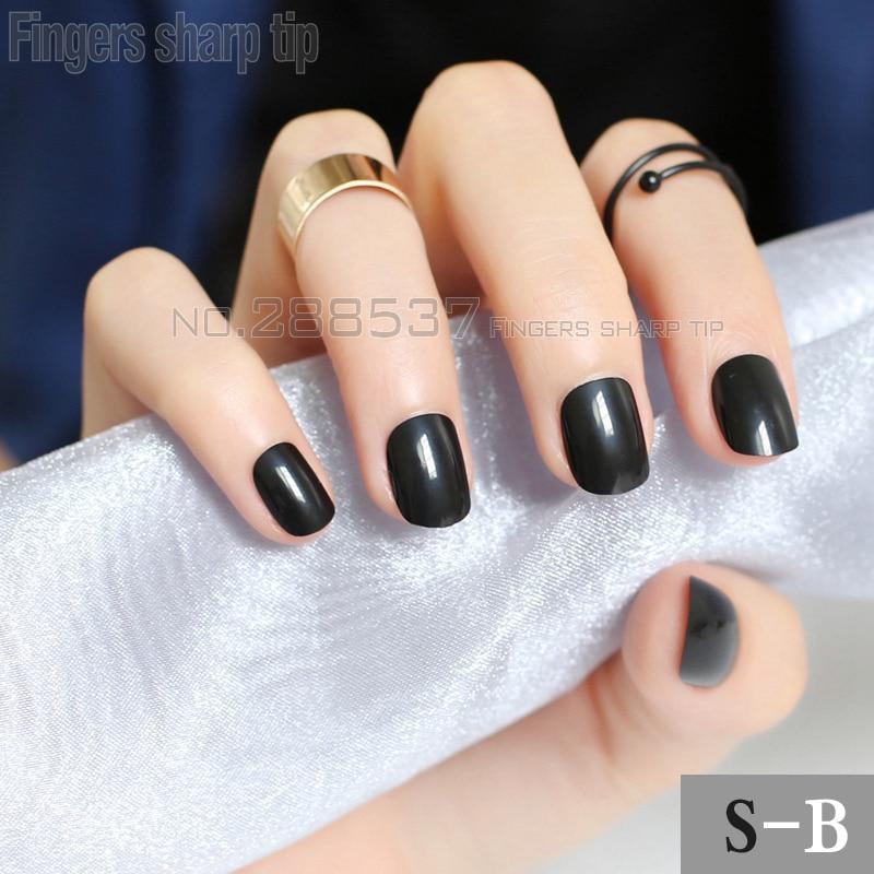 24 pcs Simple fashion solid color black Fake Nails Shiny ...