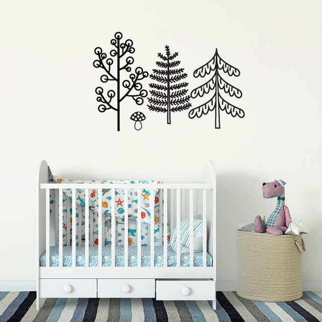 Nursery Wall Decor Stickers Set Cute Tree Vinyl Decals Scandinavian Decoration Kids Room Monochrome Art