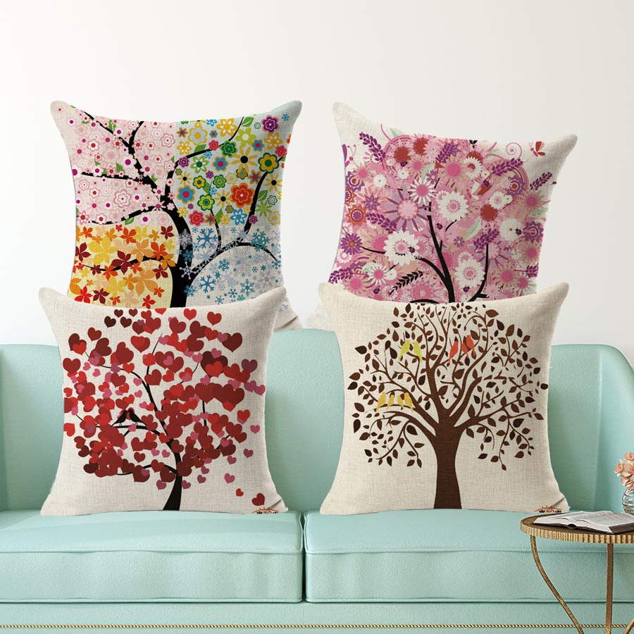 Kids decorative pillow Europe season trees square printed cotton linen seat cushion no filling housse coussin decoration 45x45cm