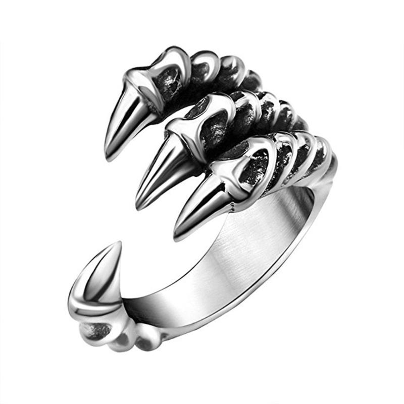1pcs Stainless Steel Dragon Claw Rings for Men and Women Personality iker Rings Vintage Gothic Jewelry