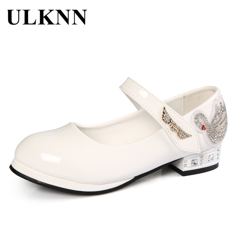 ULKNN Children Shoes Girls Spring Shoes Kids Princess Shoes For Girls Low Heel Leather Rhinestone Pattern Swan chaussure enfant