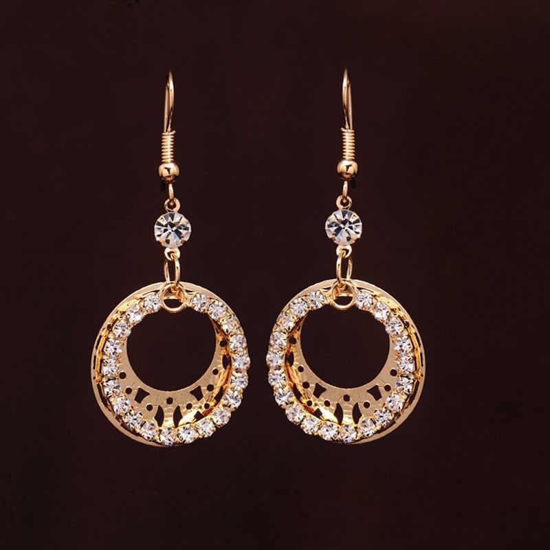 Gold-farbe Hochzeit Schmuck Sets Runden Schmuck Elegante Engagement Ohrring + Halskette für Frau Zubehör