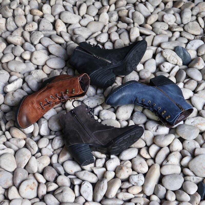 フリルマーティンブーツ高品質のレザーブーツ慰安婦 bootsHigh ヒール革 bootsMartin ブーツ  グループ上の 靴 からの ミッドカーフブーツ の中 1