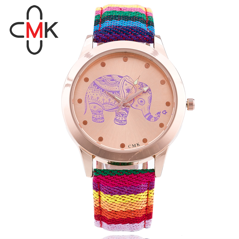 2016 New Fashion Casual Watch Women Ladies Ethnic Retro Cute elephant Floral pattern Cloth tape Quartz Wristwatch Relogio Hour