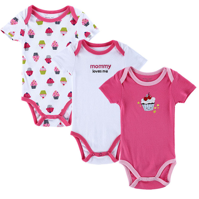 c4a13ade6 3pcs lot Baby Rompers Newborn Clothes Short Sleeve Cotton Baby Boy ...