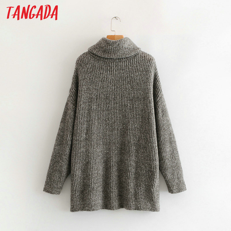 Tangada women jumpers turtleneck sweaters oversize winter fashion 19 long sweater coat batwing sleeve christmas sweate HY135 20