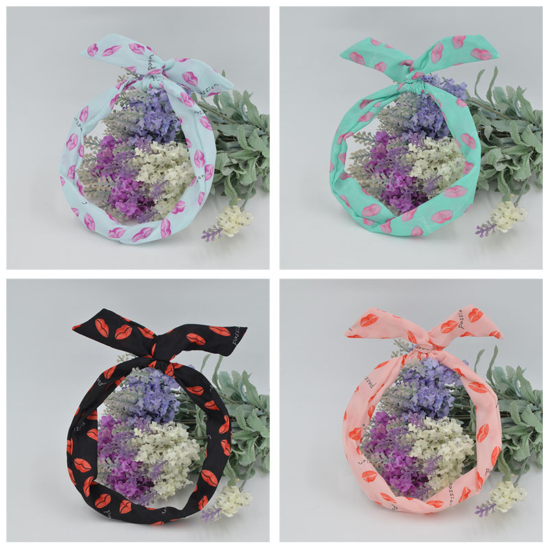 Women Bunny Rabbit Ear Ribbon   Headwear   Korean Lips Hairband Metal Wire Scarf Headband Hair Band Accessories 6 Colors 1Pcs