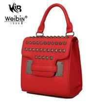 Kleine Mini Tasche Umhängetasche Crossbody Taschen Handtasche Mode PU dame Nietbeutel Für Frauen 2016 PU Leder Rot Schwarz Klappe