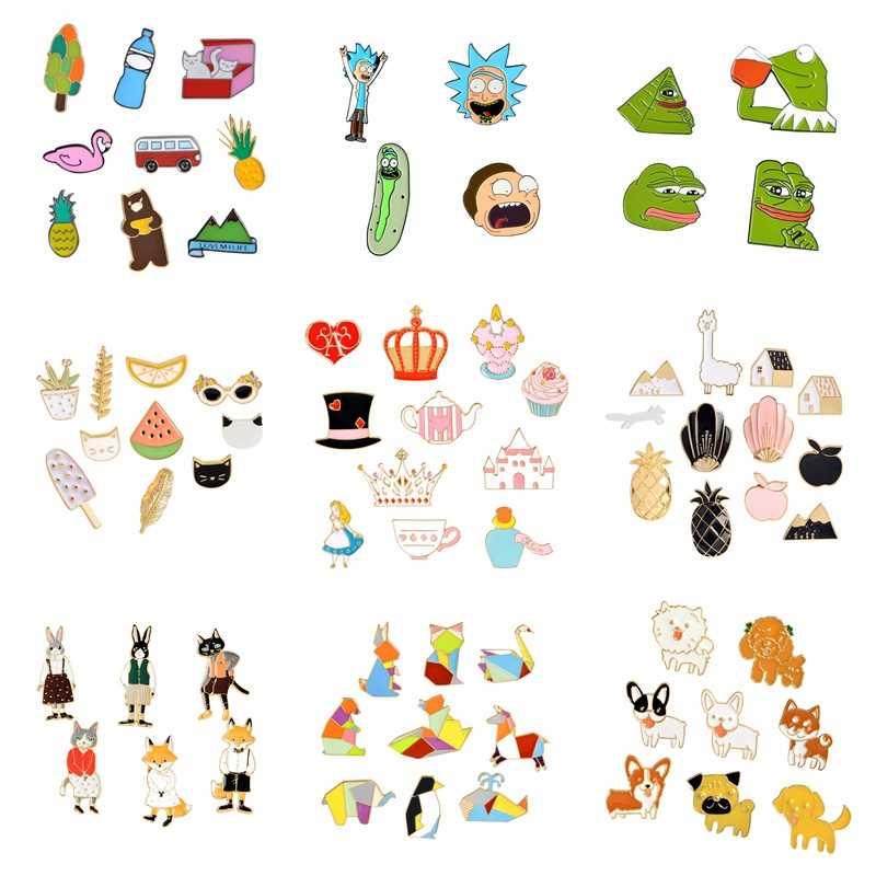 4-12 Bagian Dalam Satu Set Kartun Pin Hewan Buah Bros Cute Kawaii Enamel Koleksi Campuran Gaya Bros untuk Wanita