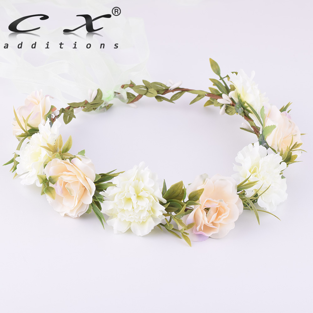 CXADDITIONS Flower Crown Headband   Headwear   Bridal Fabric Flower Crown Wedding Hair Accessories Headbands Floral Head Wreath