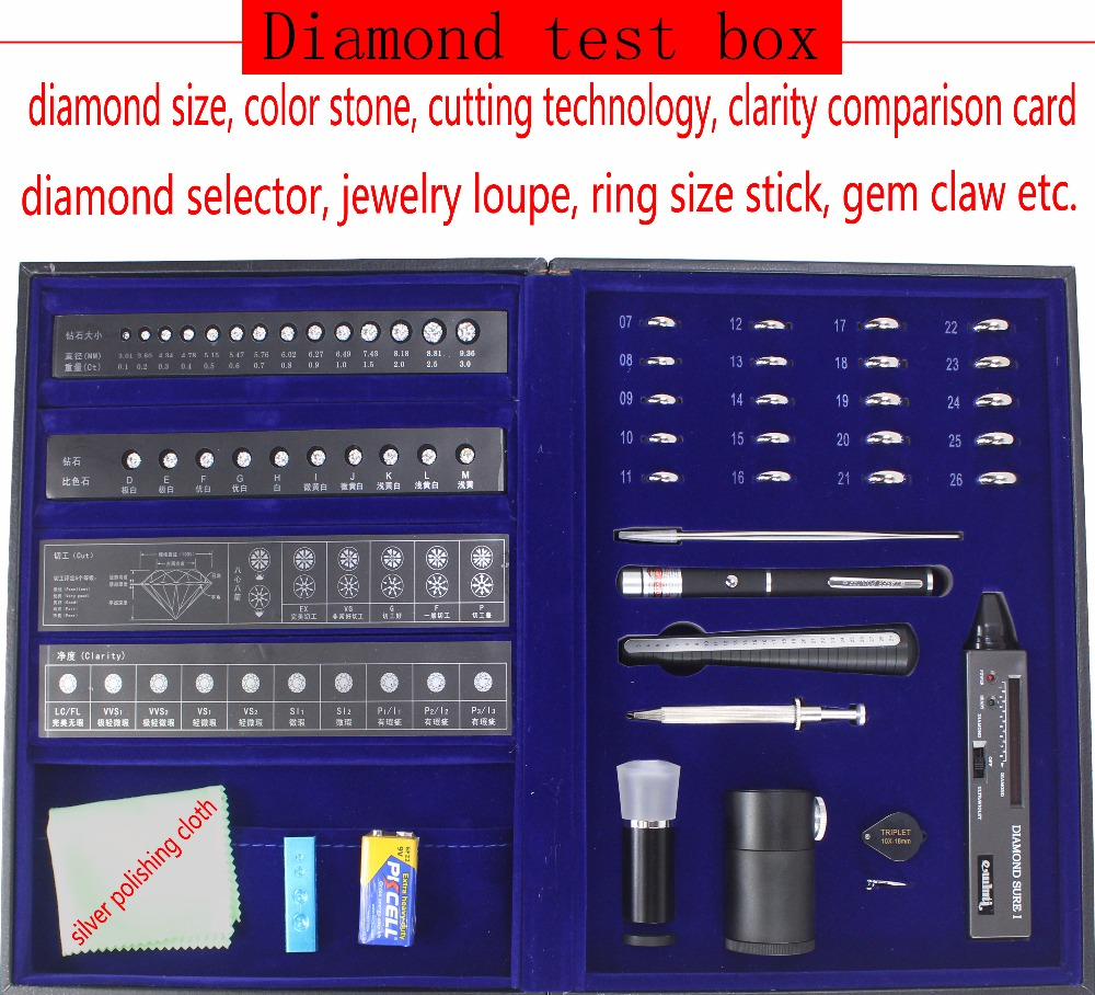 New Professional Diamond Tester Tool Set in Box with Clarity Size Color Cutting Testing Jewelry Making