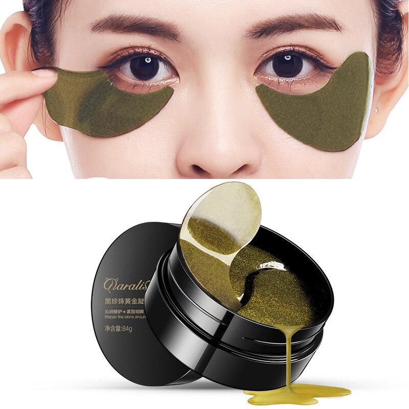 Ojos Máscaras Cuidado DE LA PIEL 60 unids negro perla gel máscara cristalina del colágeno máscara de ojo parche círculo oscuro, párpado antiarrugas líneas