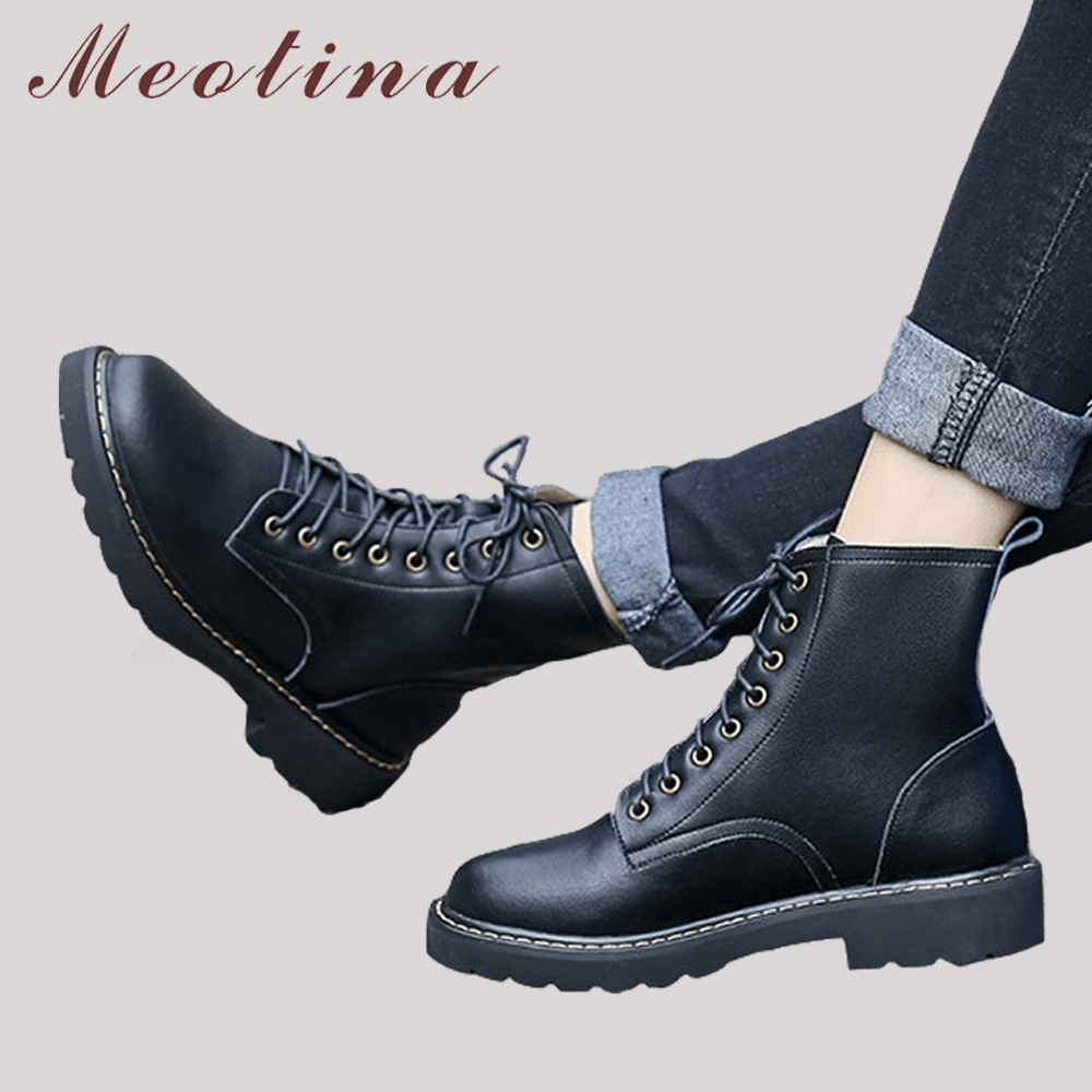 meotina genuine leather boots women ankle boots thick heels motorcycle boots zip winter lace up autumn ladies martin shoes black Meotina Winter Ankle Boots Natural Real Leather Boots Low Heel Motorcycle Boots Women Lace Up Punk Genuine Leather Shoes Black