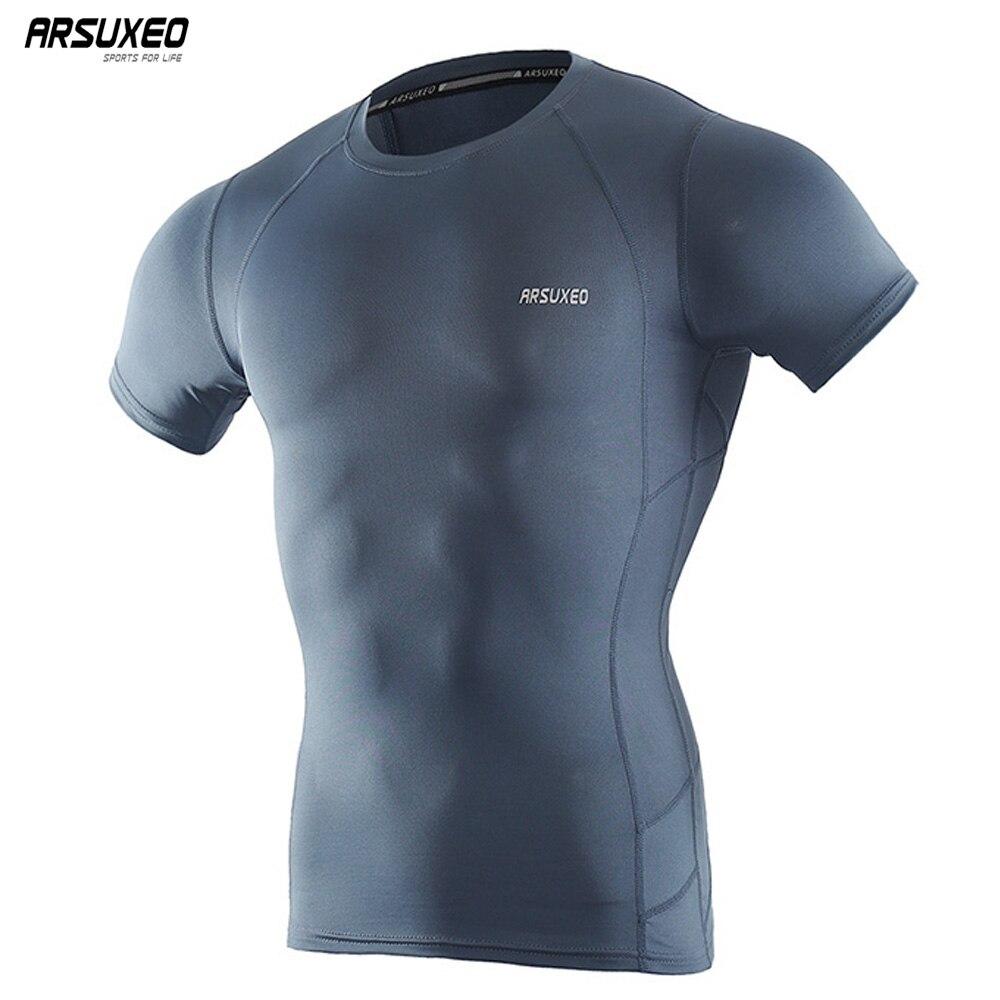 ARSUXEO Men's Compression Shirt Base Layer Running T Shirts Short Sleeves Workout GYM T Shirt Clothing C52 black lace up off shoulder short sleeves irregular t shirts