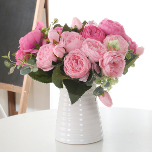 1 Bundle Silk Peony Bouquet Home Decoration Accessories Wedding Party Scrapbook Fake Flowers Diy Craft Artificial Roses Flowers