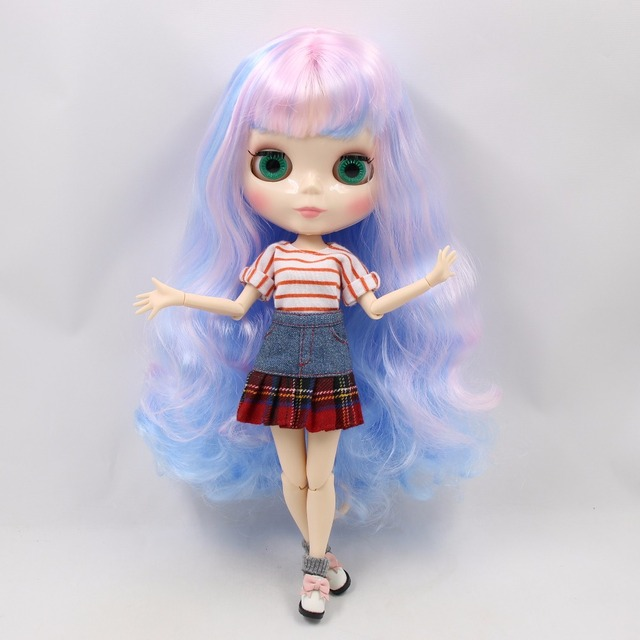 Factory Neo Blythe Doll Pink Blue Hair Jointed Body 30cm