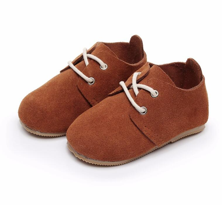 Lace Up Solid Genuine Leather Baby Shoes High Quality Hard Rubber Sole  Handmade Baby Maccasins Shoes Kids Boot