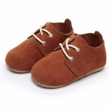 lace up solid genuine leather baby shoes High quality hard r