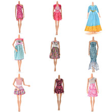 Many Styles Fashion Colorful Mini Dresses Party Wedding Wear Beautiful Handmade Skirt For Barbie Doll Accessories Gifts Shoes(China)