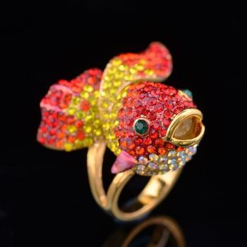 Alisouy 1 szt Kobiecy pierścionek śliczne ryby białe żółte złoto kolor kobiety z austriackimi kryształami złote rybki pierścionki z motywem zwierzęcym dla kobiet tanie i dobre opinie CN (pochodzenie) STAINLESS STEEL KRYSZTAŁ TRENDY Obrączki ślubne Zwierząt 20mm Other JW0075 Ustawienie napięcia moda