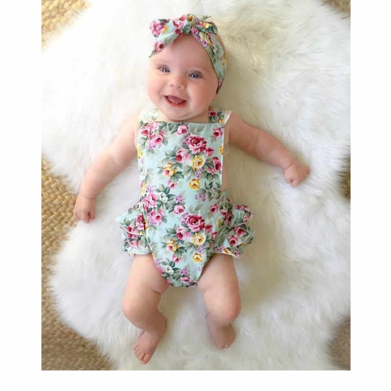64cab124622 ... Cute Floral Baby Romper 2018 Ruffles Lace Jumpsuit Newborn Baby Girls  Bow Sunsuit Outfits Children Clothes ...