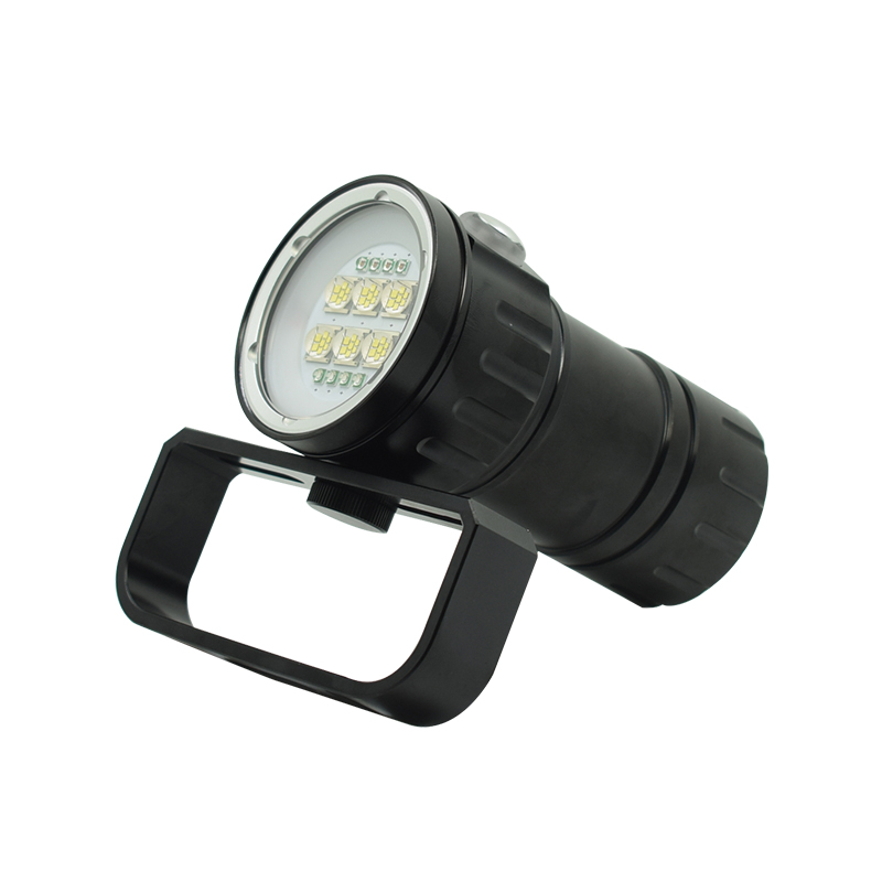 WasaFire 28800LM Diving Flashlight Underwater Scuba Video Light 6 XML2 + 4 Red + 4 Blue LED 18650 Battery Photography Dive Lamp
