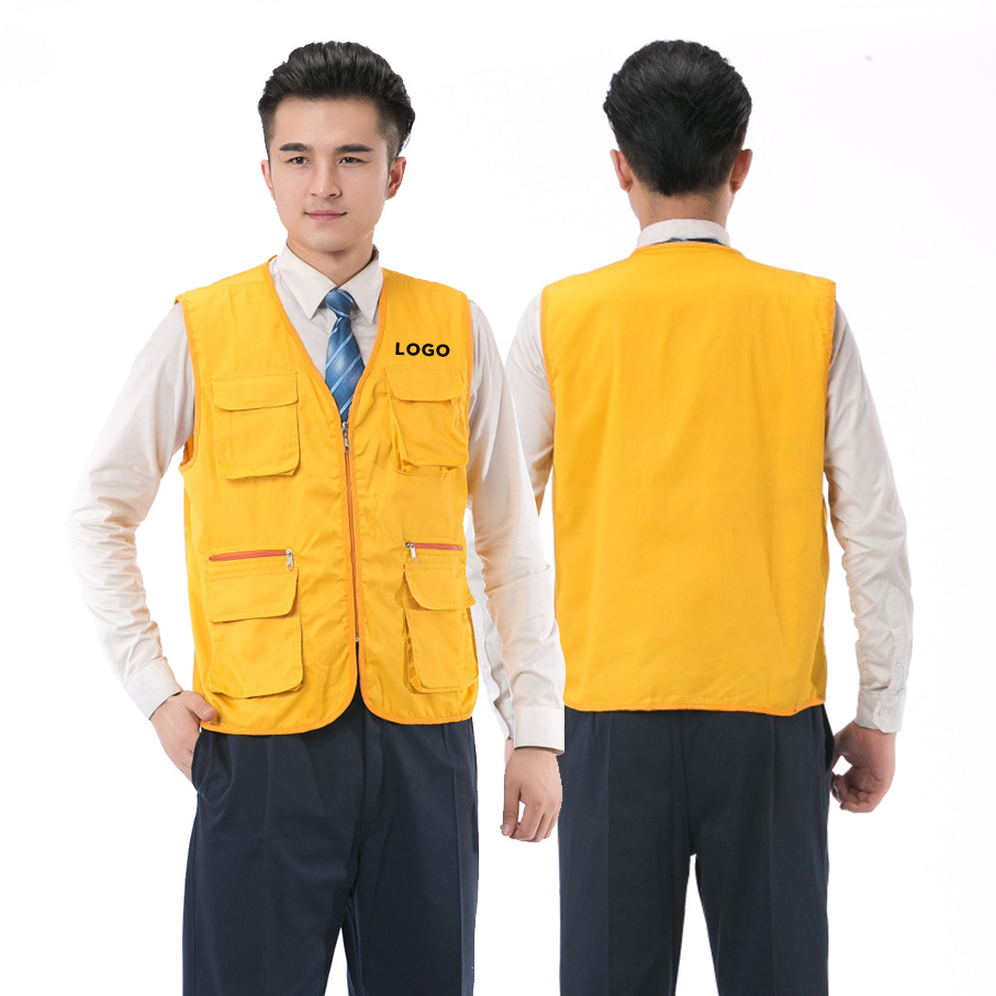 Men Volunteer Waistcoat Customized Workwear Advertisting Solid Color Text Logo Printing Unisex Work Clothes Sleeveless Vests