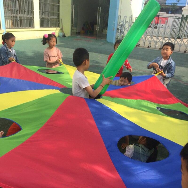 3 M/4 M/5 M Diâmetro Crianças Parachute com Buracos, picar UMA Verruga ou Salto-Saco Jogo do jardim de infância Ao Ar Livre, Jogos Infantis Rainbow Umbrella