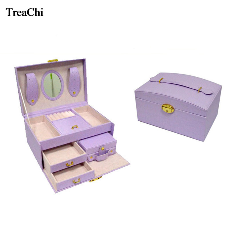 Large Pink Purple Leather Trinket Jewelry Organizer Box Watch Case Beads Earring Ring Jewelry Armoire Storage Case Travel Box