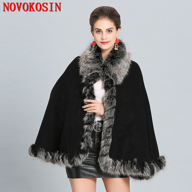 SC284 2018 Plus Size Women Winter Soft Pashmina Fake Fox Fur Collar Loose Poncho Capes Short Wine Red Cardigan Coat With Hat