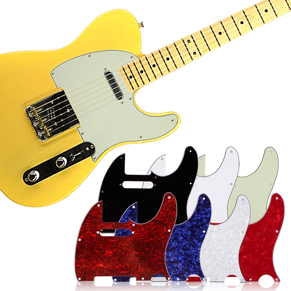 Guitar Parts 7 Colors 3Ply Aged Pearloid Pickguard for Tele Style Guitar Pickguard High Quality Guitar Accessories Promotion musiclily 3ply pvc outline pickguard for fenderstrat st guitar custom